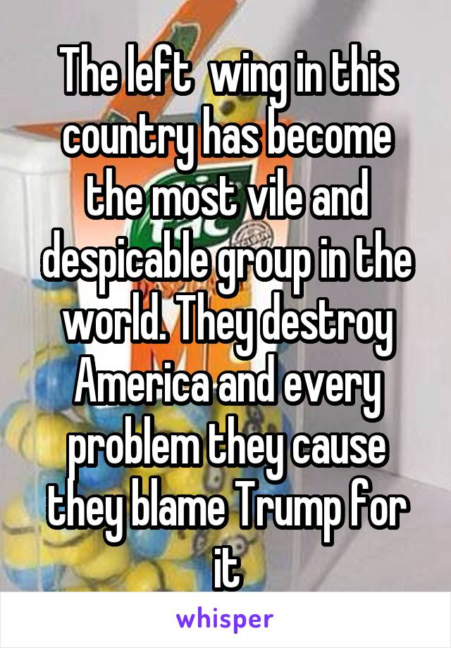 The left  wing in this country has become the most vile and despicable group in the world. They destroy America and every problem they cause they blame Trump for it