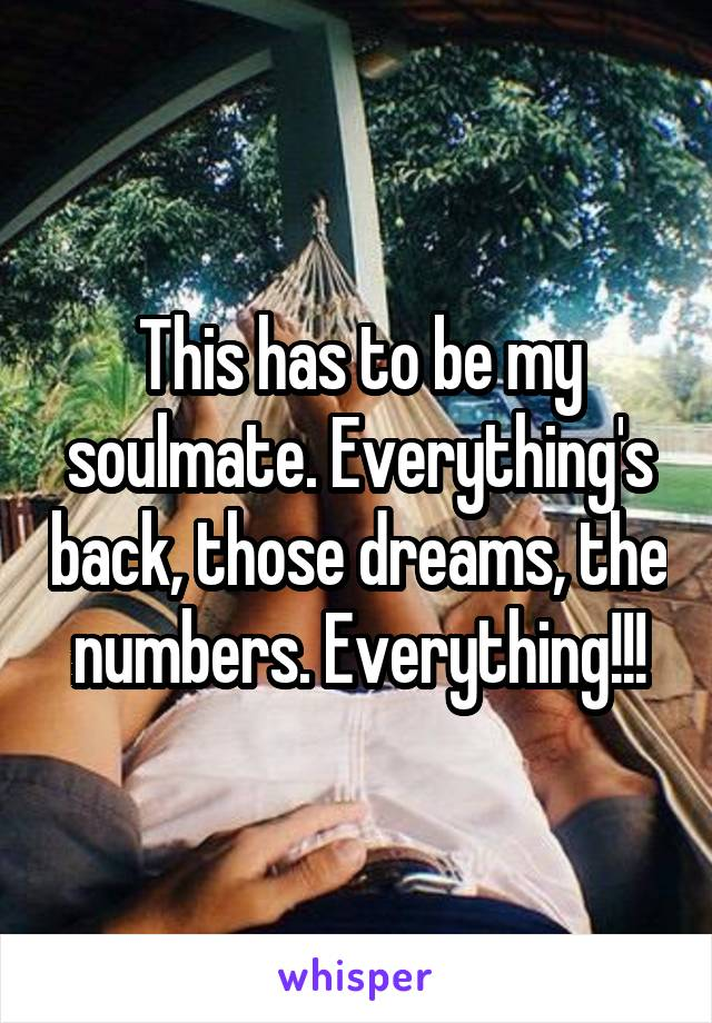 This has to be my soulmate. Everything's back, those dreams, the numbers. Everything!!!