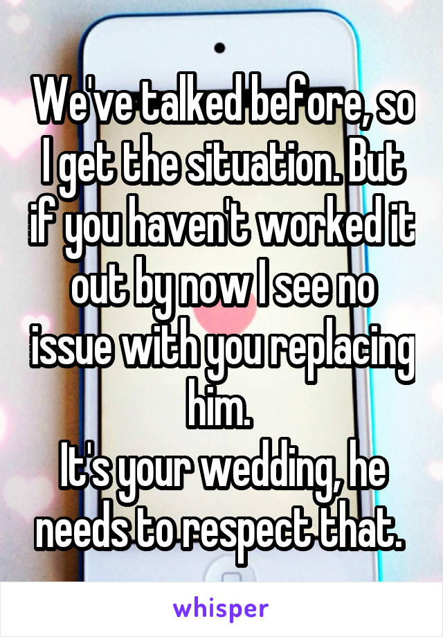 We've talked before, so I get the situation. But if you haven't worked it out by now I see no issue with you replacing him.  It's your wedding, he needs to respect that.