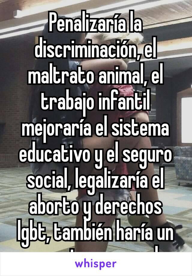 Penalizaría la discriminación, el maltrato animal, el trabajo infantil  mejoraría el sistema educativo y el seguro social, legalizaría el aborto y derechos lgbt, también haría un proyecto pro-verde.