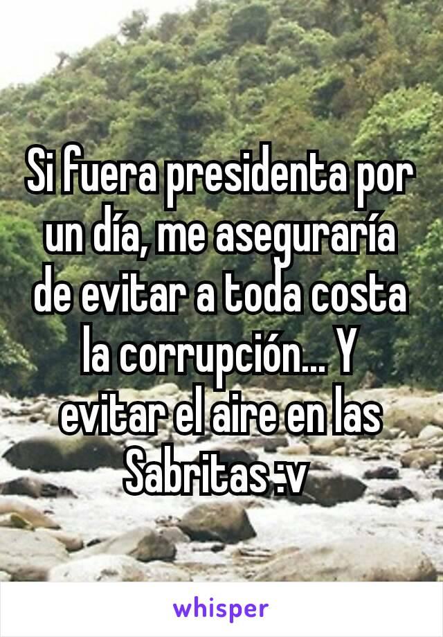 Si fuera presidenta por un día, me aseguraría de evitar a toda costa la corrupción... Y evitar el aire en las Sabritas :v