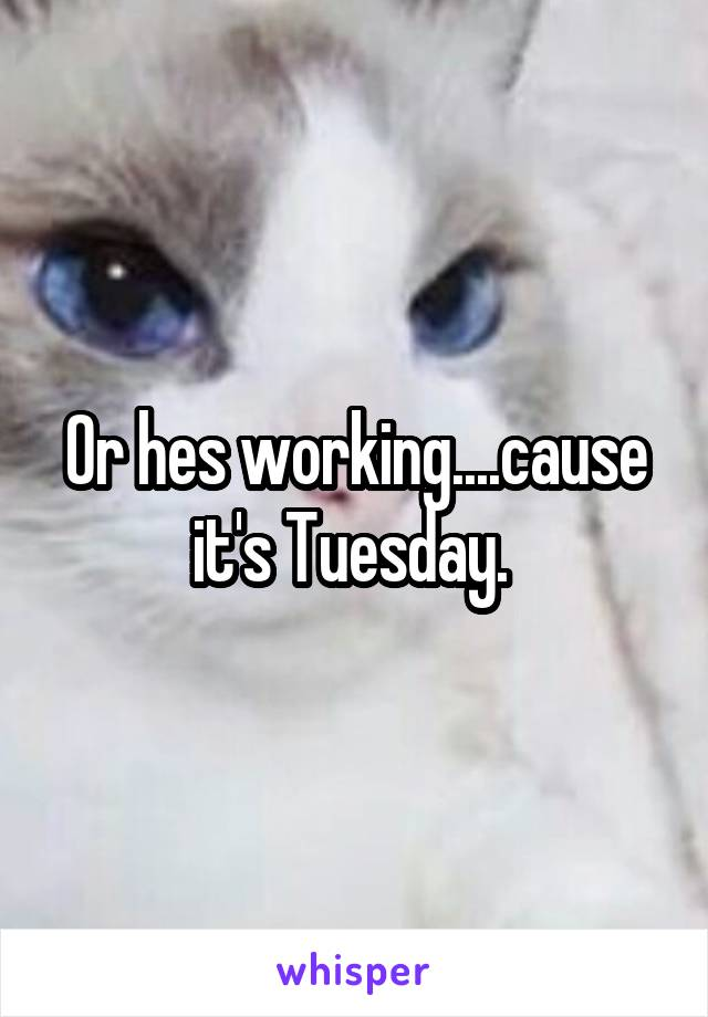 Or hes working....cause it's Tuesday.