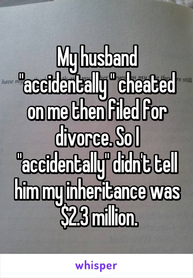 "My husband ""accidentally "" cheated on me then filed for divorce. So I ""accidentally"" didn't tell him my inheritance was  $2.3 million."