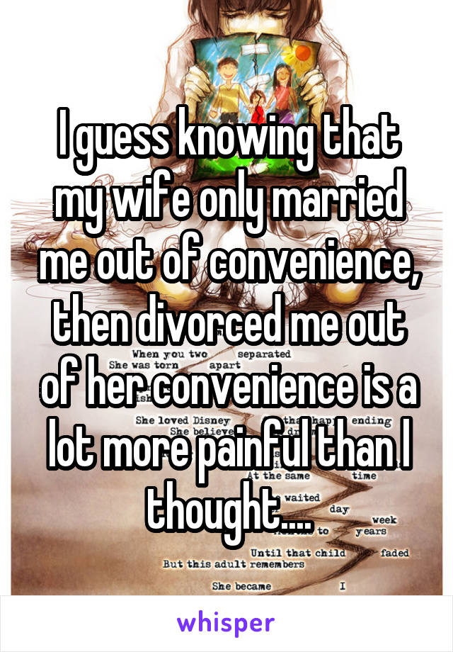 I guess knowing that my wife only married me out of convenience, then divorced me out of her convenience is a lot more painful than l thought....