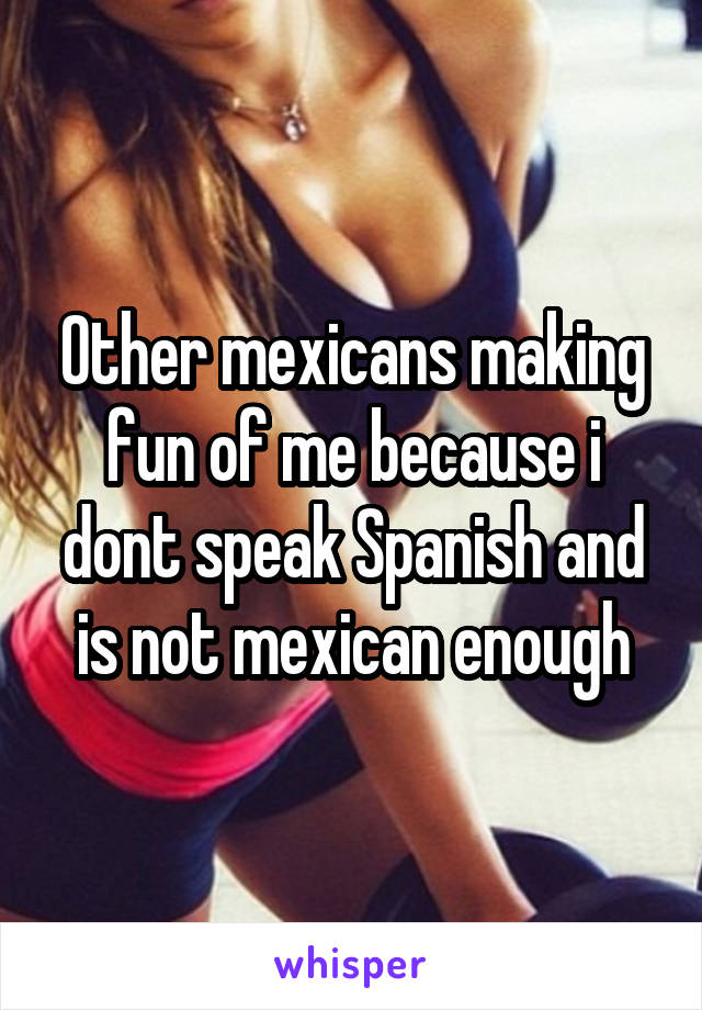 Other mexicans making fun of me because i dont speak Spanish and is not mexican enough