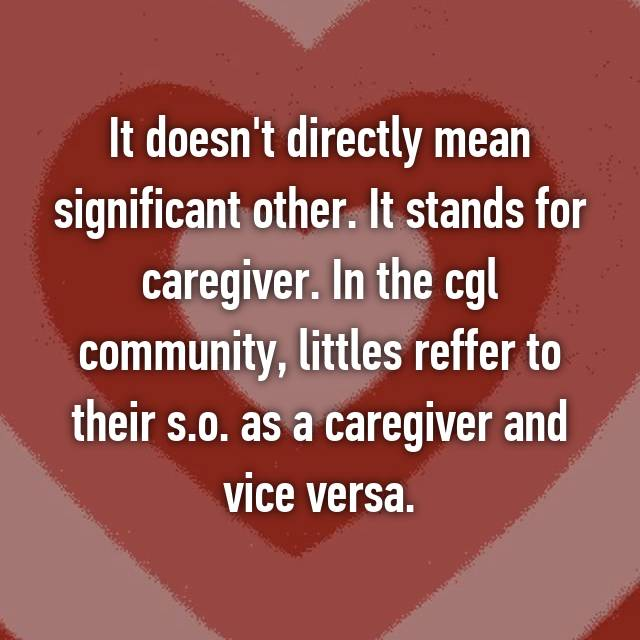 It doesn't directly mean significant other  It stands for