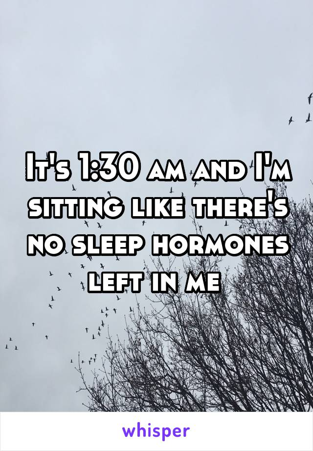 It's 1:30 am and I'm sitting like there's no sleep hormones left in me