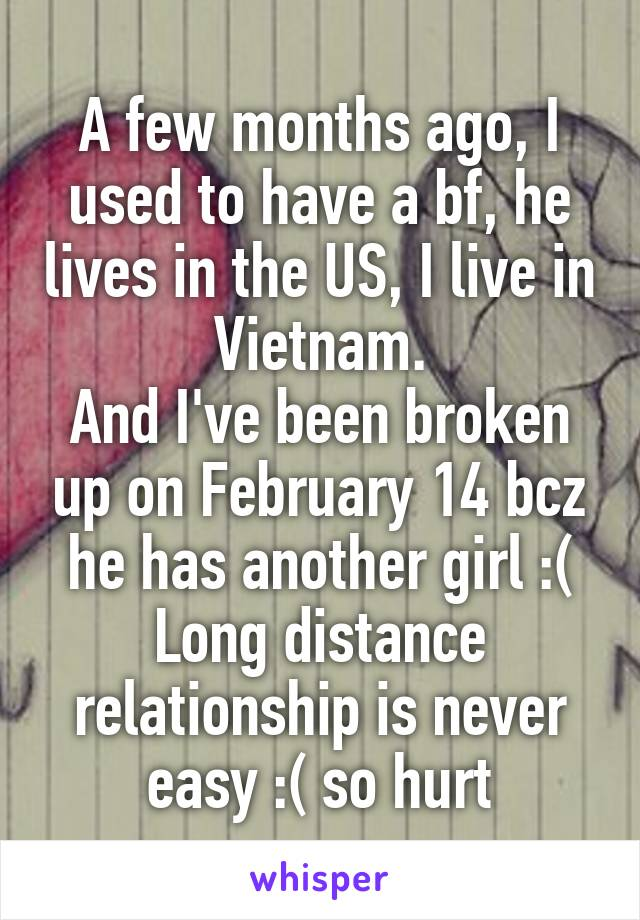 A few months ago, I used to have a bf, he lives in the US, I live in Vietnam. And I've been broken up on February 14 bcz he has another girl :( Long distance relationship is never easy :( so hurt