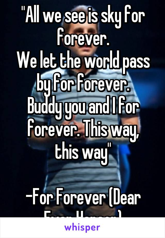 """""""All we see is sky for forever. We let the world pass by for forever. Buddy you and I for forever. This way, this way""""  -For Forever (Dear Evan Hansen)"""
