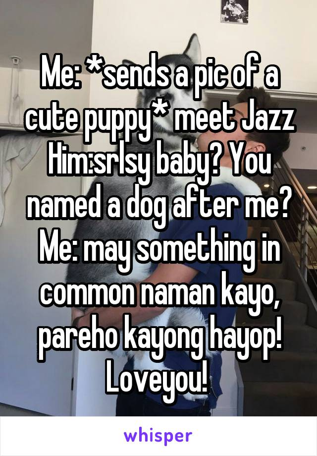 Me: *sends a pic of a cute puppy* meet Jazz Him:srlsy baby? You named a dog after me? Me: may something in common naman kayo, pareho kayong hayop! Loveyou!