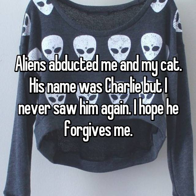 Aliens abducted me and my cat. His name was Charlie but I never saw him again. I hope he forgives me.