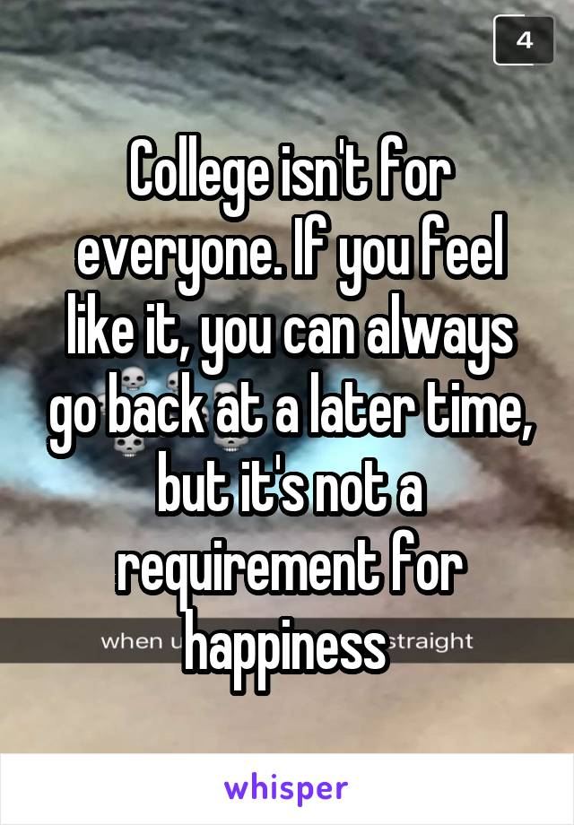 college isn t for everyone if you feel like it you can always go