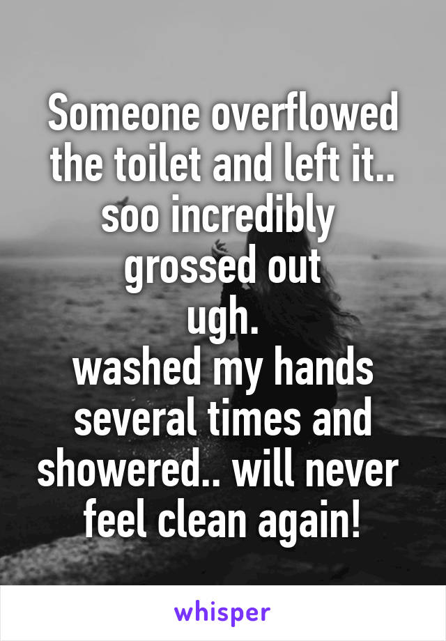 Someone overflowed the toilet and left it.. soo incredibly  grossed out ugh. washed my hands several times and showered.. will never  feel clean again!