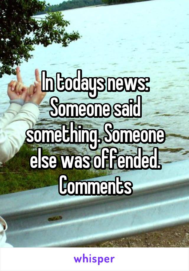 In todays news: Someone said something. Someone else was offended. Comments
