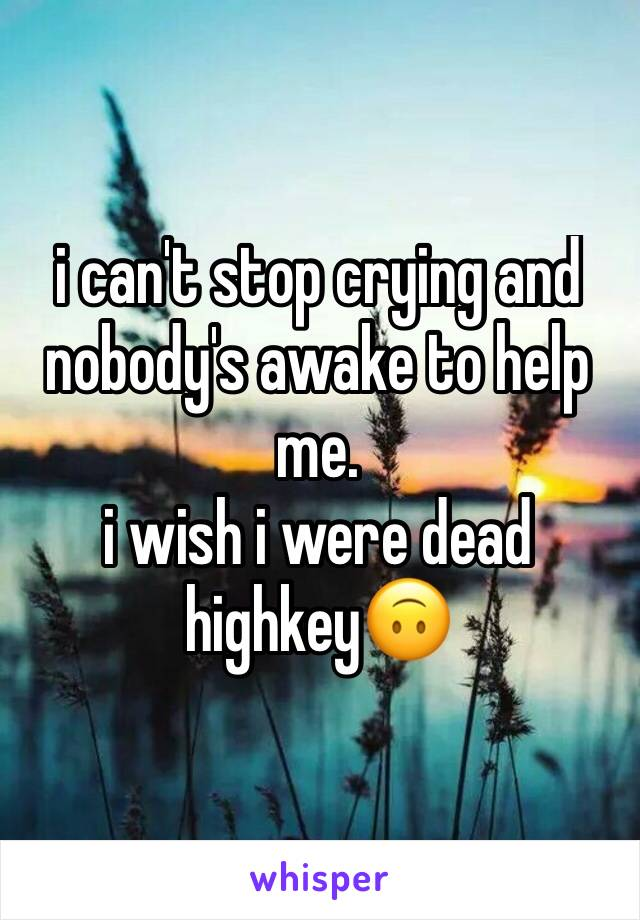 i can't stop crying and nobody's awake to help me.  i wish i were dead highkey🙃