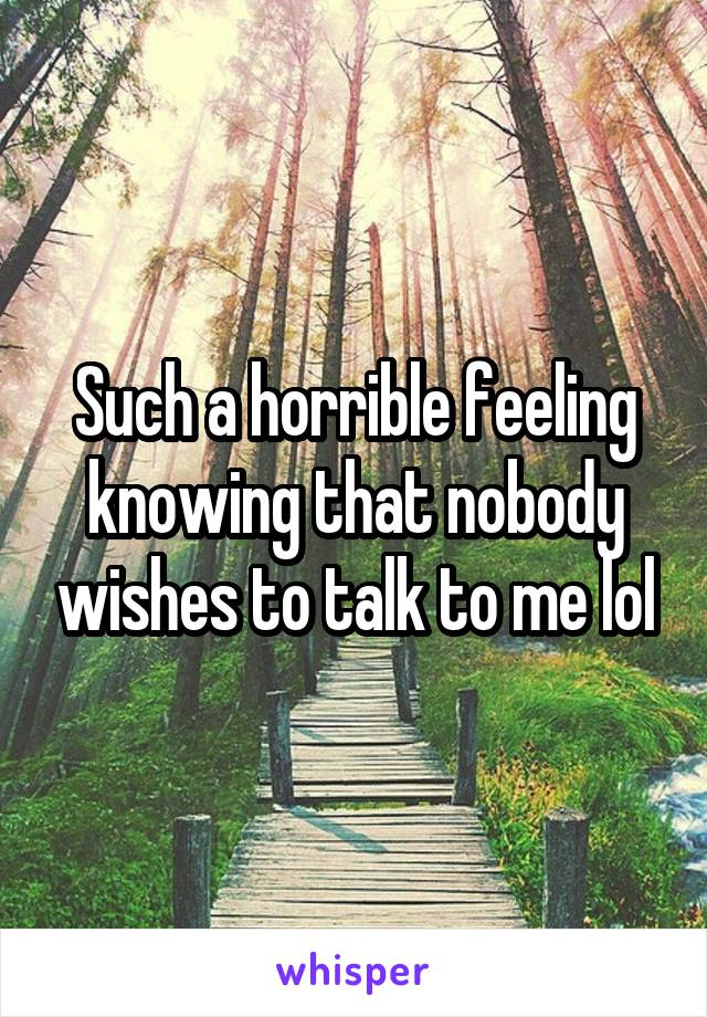Such a horrible feeling knowing that nobody wishes to talk to me lol