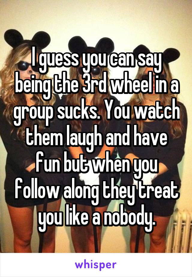 I guess you can say being the 3rd wheel in a group sucks. You watch them laugh and have fun but when you follow along they treat you like a nobody.