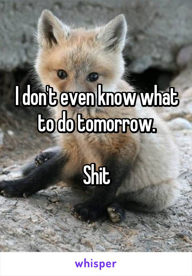 I don't even know what to do tomorrow.  Shit