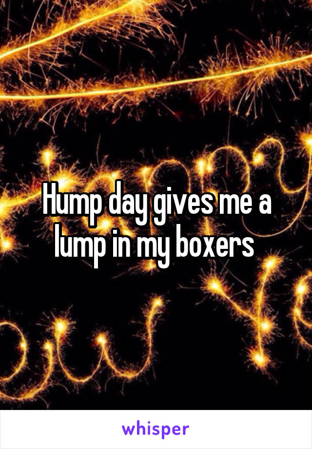 Hump day gives me a lump in my boxers