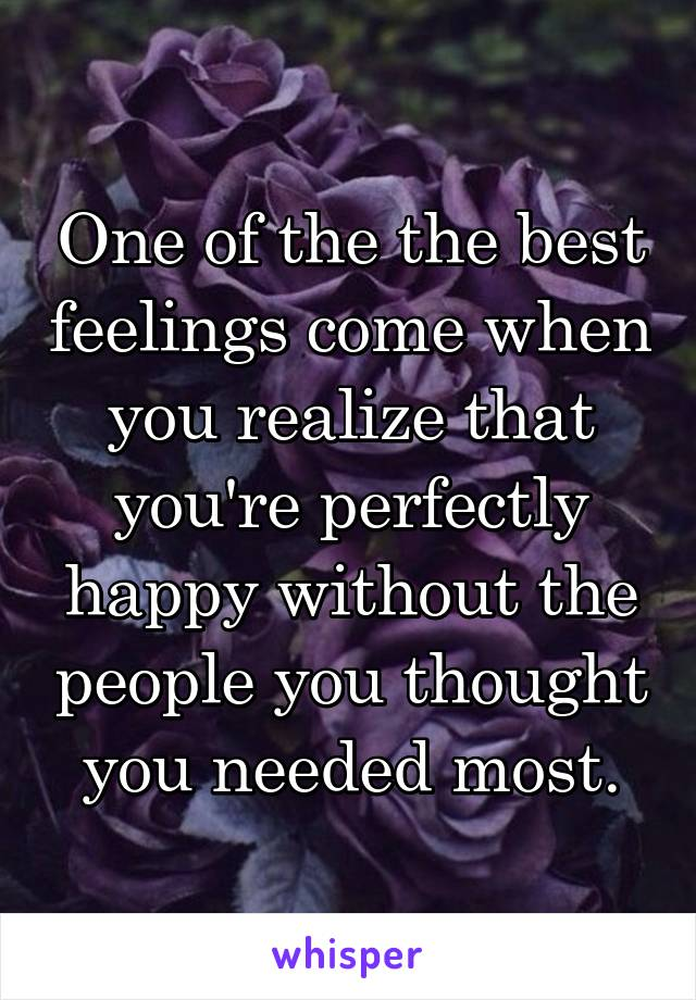 One of the the best feelings come when you realize that you're perfectly happy without the people you thought you needed most.