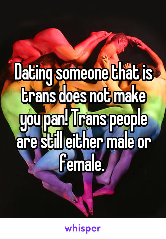 Dating someone that is trans does not make you pan! Trans people are still either male or female.