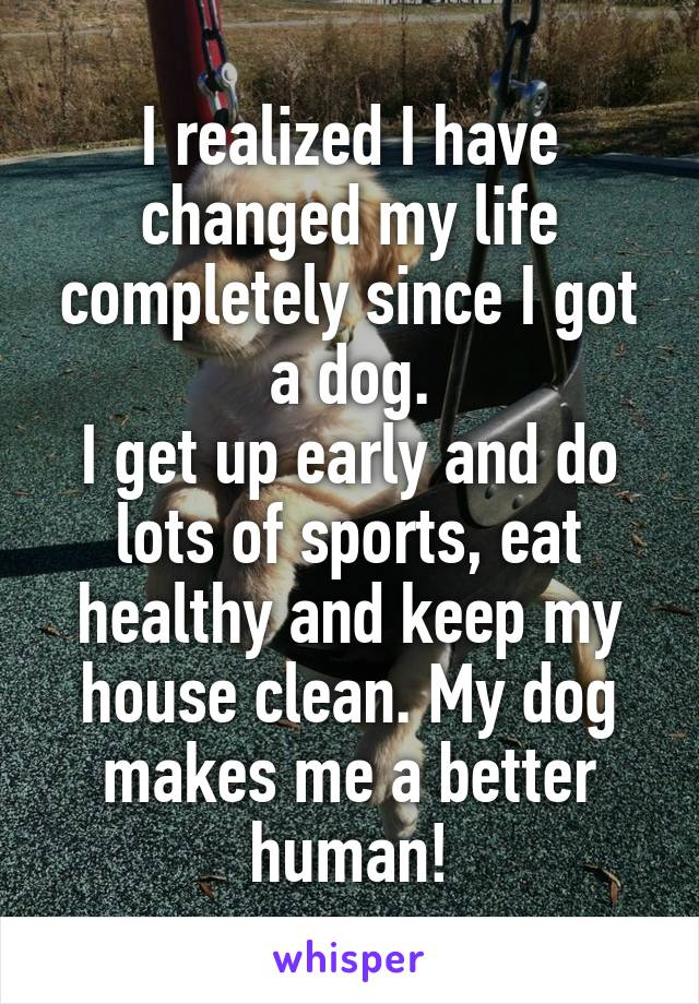 I realized I have changed my life completely since I got a dog. I get up early and do lots of sports, eat healthy and keep my house clean. My dog makes me a better human!
