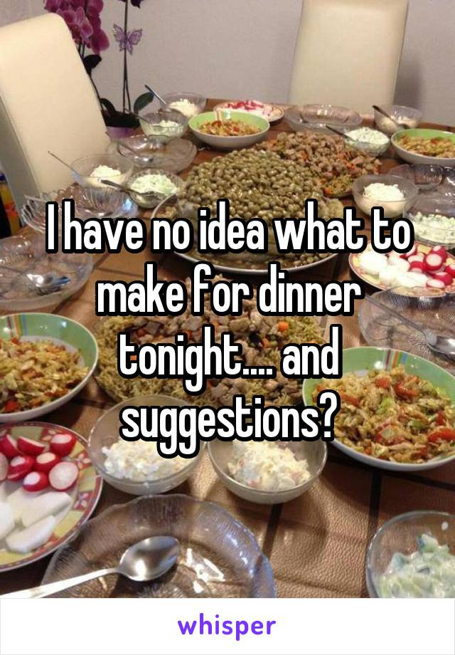I have no idea what to make for dinner tonight.... and suggestions?