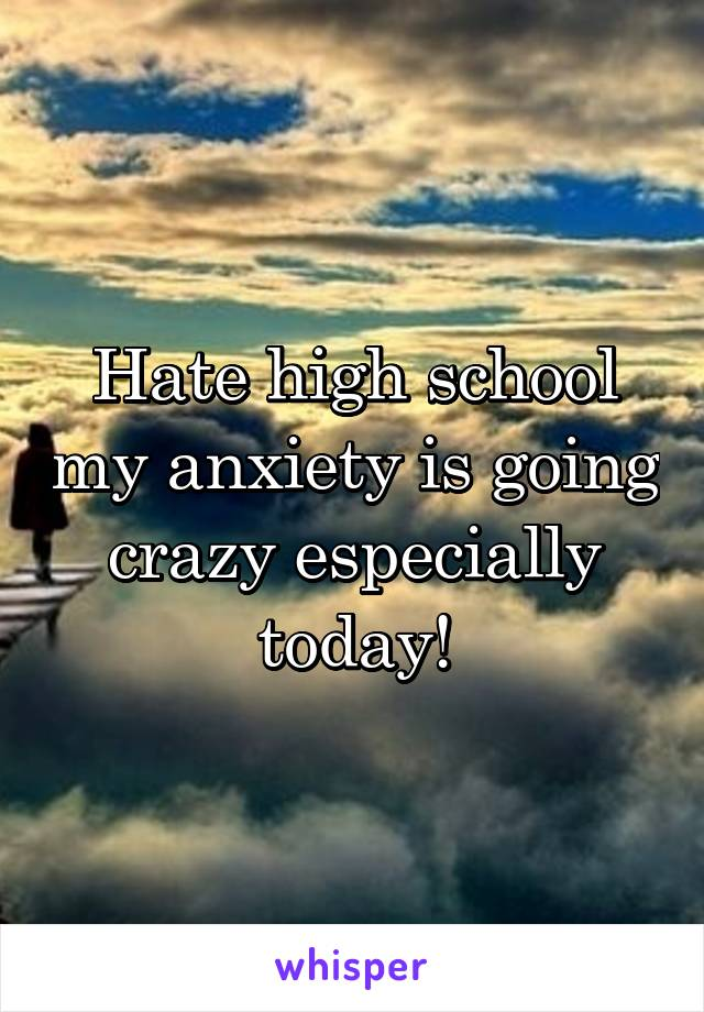 Hate high school my anxiety is going crazy especially today!