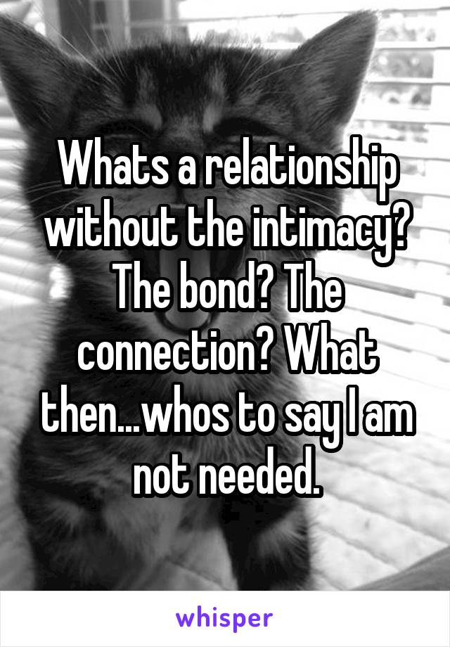 Whats a relationship without the intimacy? The bond? The connection? What then...whos to say I am not needed.