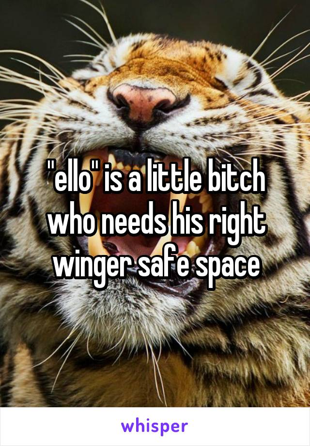 """""""ello"""" is a little bitch who needs his right winger safe space"""