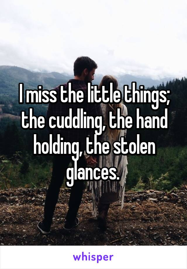 I miss the little things; the cuddling, the hand holding, the stolen glances.
