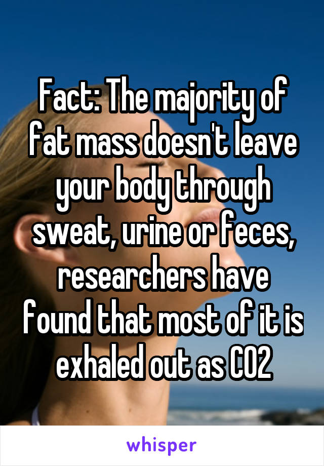 Fact: The majority of fat mass doesn't leave your body through sweat, urine or feces, researchers have found that most of it is exhaled out as CO2