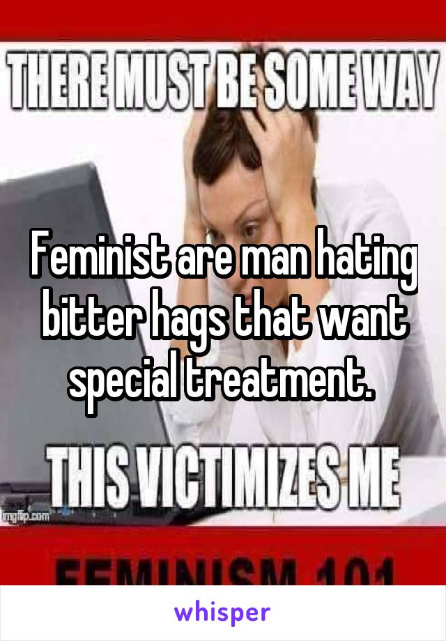 Feminist are man hating bitter hags that want special treatment.