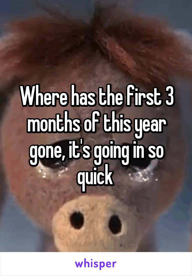 Where has the first 3 months of this year gone, it's going in so quick