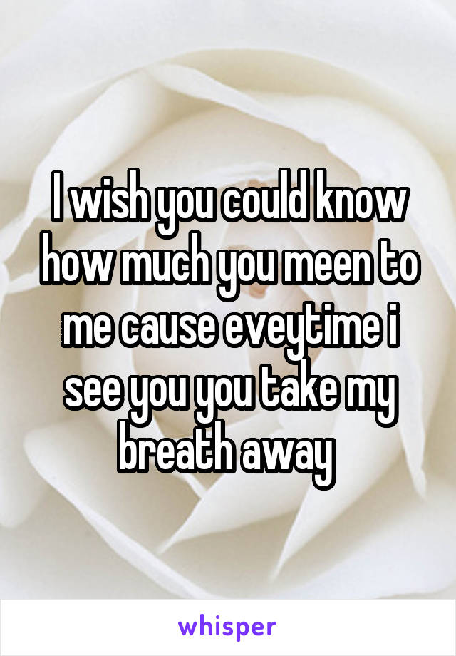 I wish you could know how much you meen to me cause eveytime i see you you take my breath away