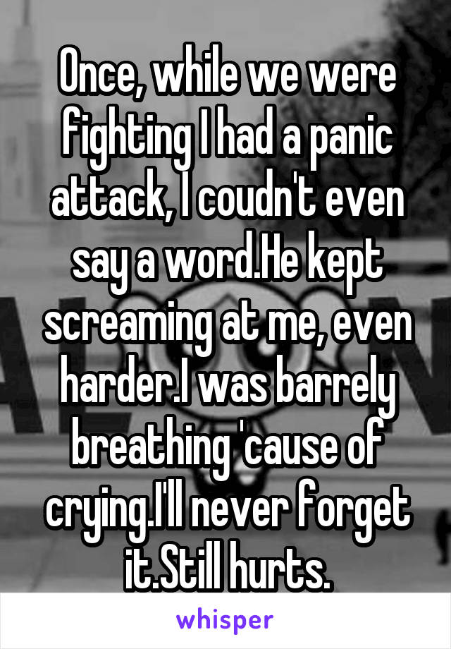 Once, while we were fighting I had a panic attack, I coudn't even say a word.He kept screaming at me, even harder.I was barrely breathing 'cause of crying.I'll never forget it.Still hurts.