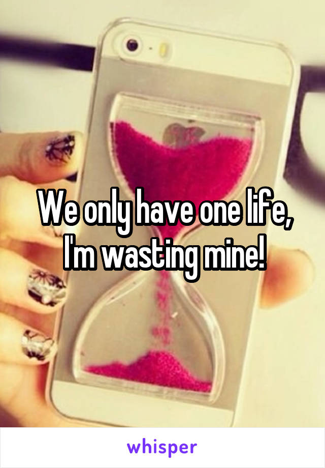 We only have one life, I'm wasting mine!