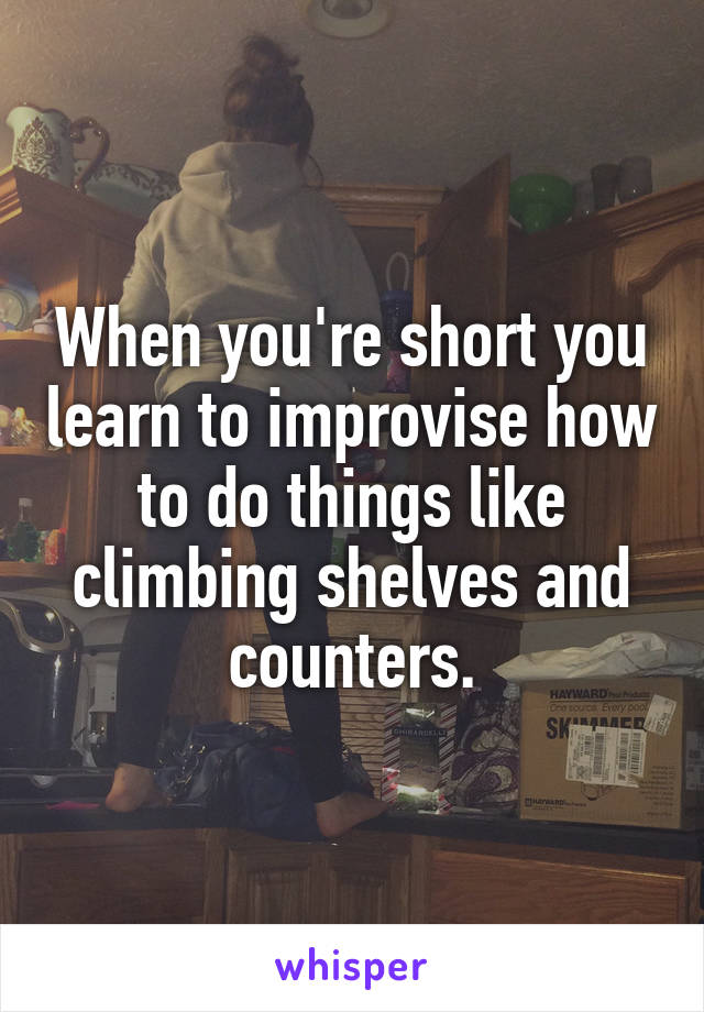 When you're short you learn to improvise how to do things like climbing shelves and counters.