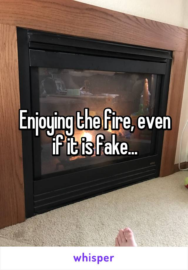 Enjoying the fire, even if it is fake...