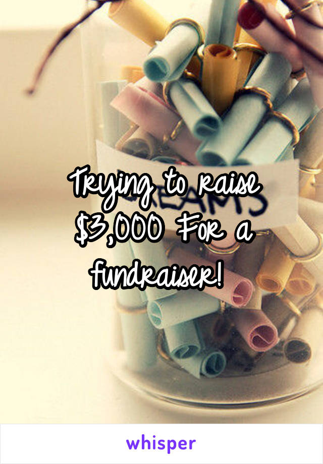 Trying to raise $3,000 For a fundraiser!