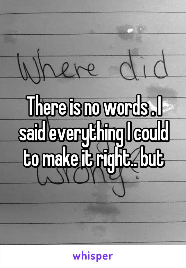 There is no words . I said everything I could to make it right.. but