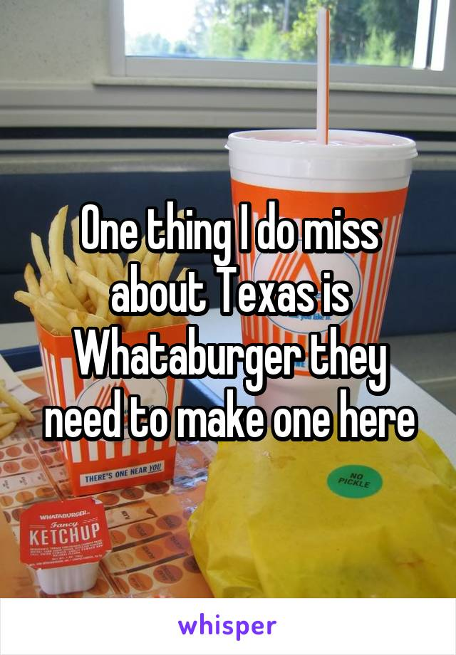 One thing I do miss about Texas is Whataburger they need to make one here
