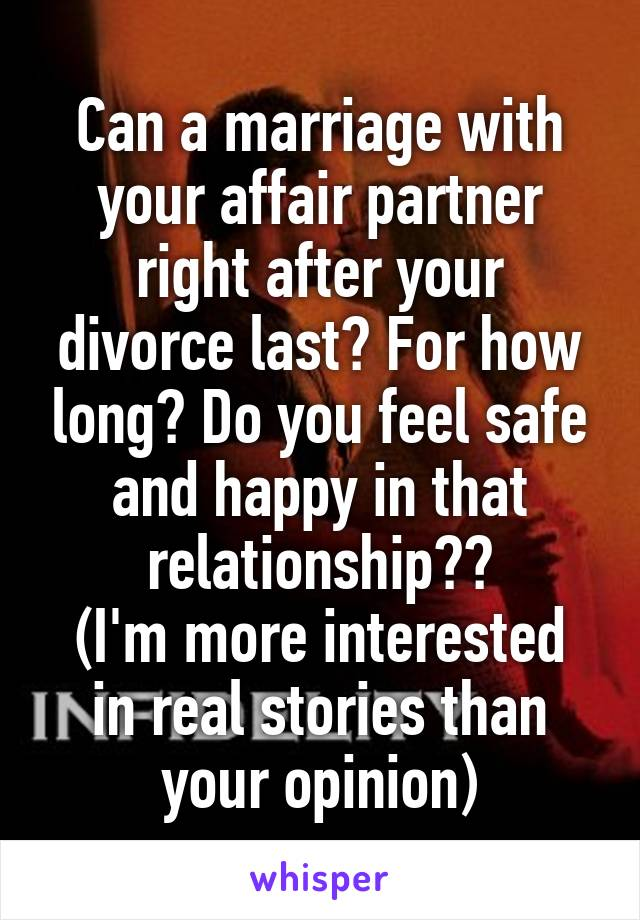 Affair partner after divorce