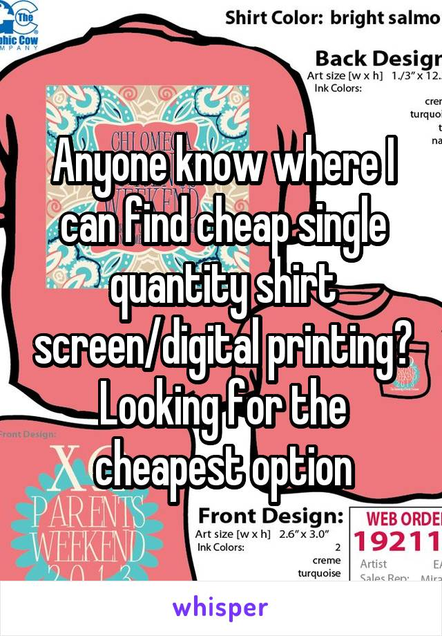 Anyone know where I can find cheap single quantity shirt screen/digital printing? Looking for the cheapest option