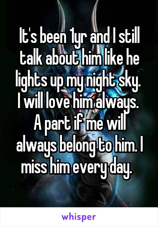 It's been 1yr and I still talk about him like he lights up my night sky.  I will love him always.  A part if me will always belong to him. I miss him every day.