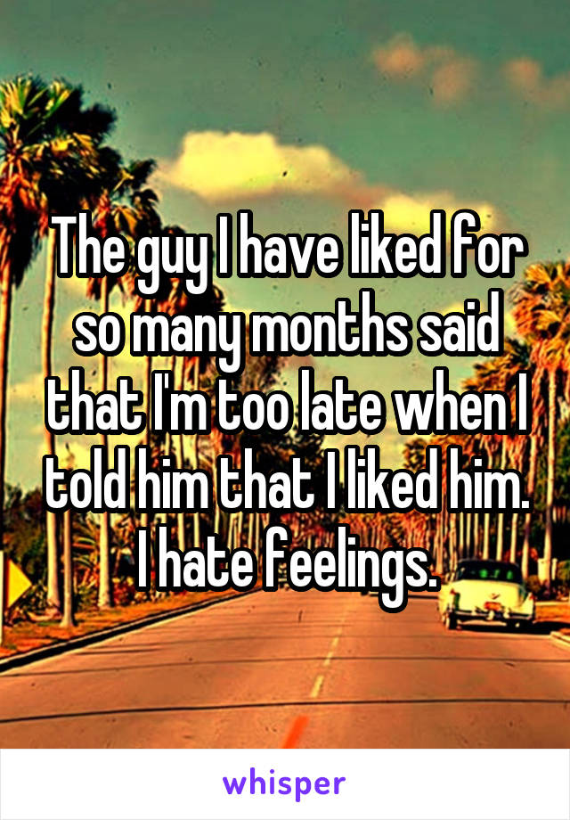 The guy I have liked for so many months said that I'm too late when I told him that I liked him. I hate feelings.