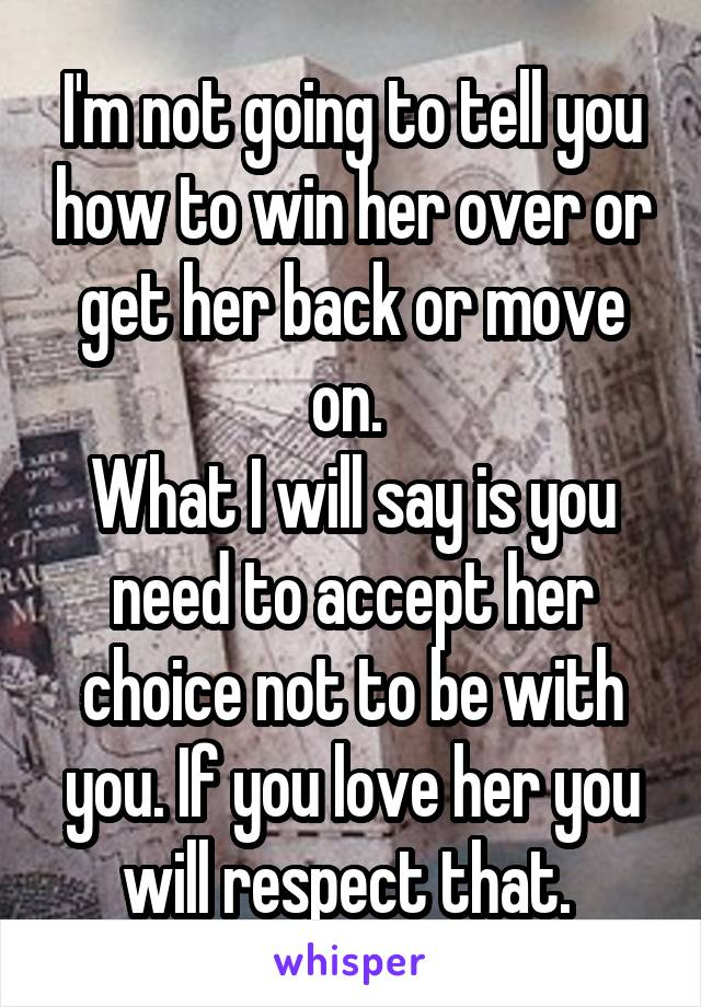 To say her back to win what 3 Best
