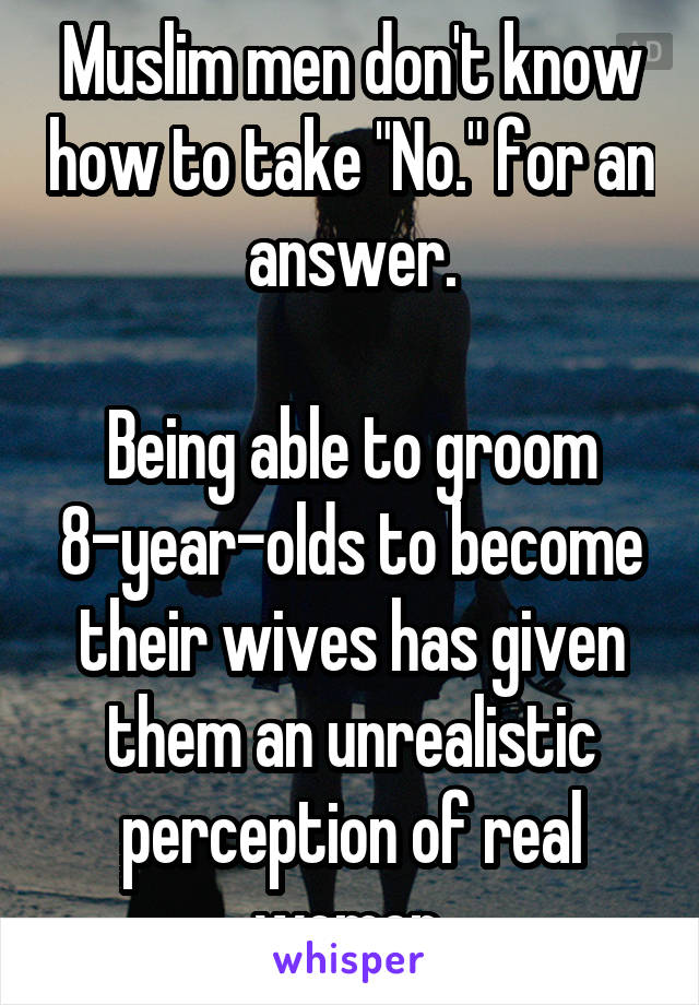 """Muslim men don't know how to take """"No."""" for an answer.  Being able to groom 8-year-olds to become their wives has given them an unrealistic perception of real women."""