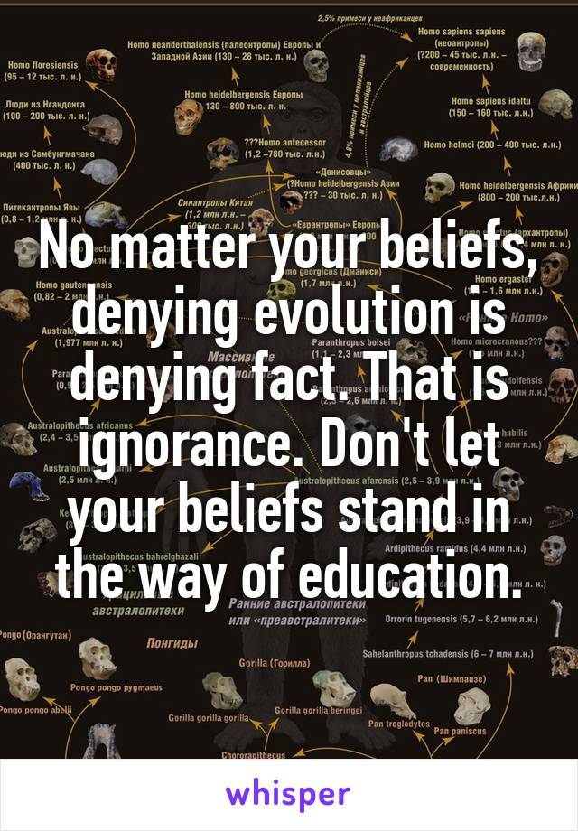 No matter your beliefs, denying evolution is denying fact. That is ignorance. Don't let your beliefs stand in the way of education.