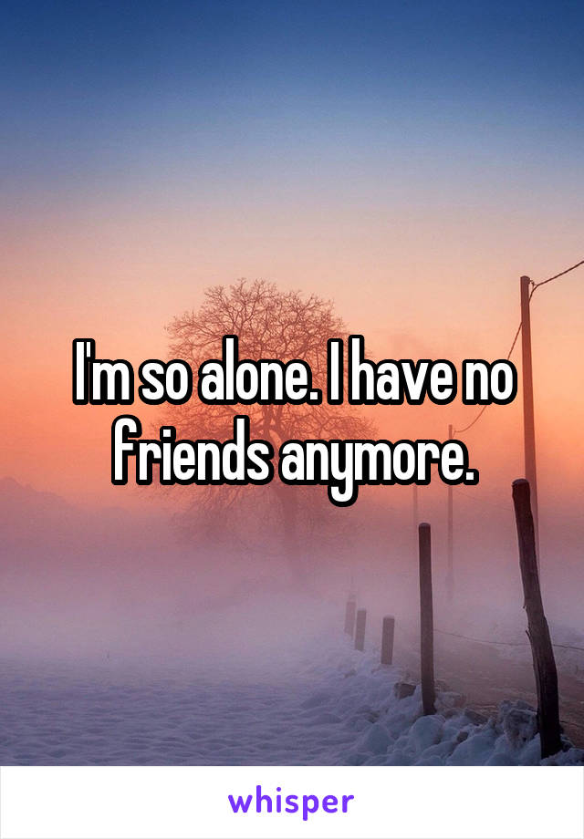 I'm so alone. I have no friends anymore.